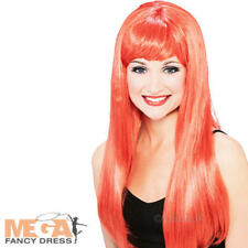 Red Glamour Wig Ladies Halloween Devil Fancy Dress Adult Women Costume Accessory
