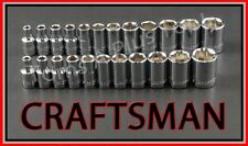 "CRAFTSMAN HAND TOOLS 23pc 1/4"" Dr 6pt SAE & METRIC ratchet wrench socket set"