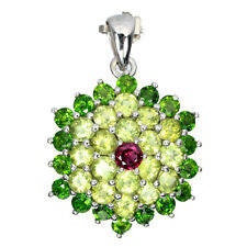 Unheated Round Rhodolite 5mm Chrome Diopside Peridot 925 Sterling Silver Pendant