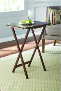 NEW Mainstays (2-Pack) Folding TV Tray Table Set in Walnut 19 x 15 x 26 inch