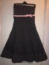 Jane Norman Strapless Spot 50's Dress Black/Pink Net Hem Underskirt Size M/L New