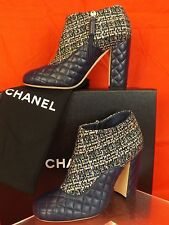 16P NIB CHANEL GREEN TWEED NAVY QUILTED LEATHER LOGO ZIP SHORT BOOTS 38 $1150