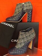 16P NIB CHANEL GREEN TWEED NAVY QUILTED LEATHER LOGO ZIP SHORT BOOTS 38.5 $1150