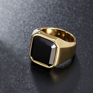 18K Gold Stainless Steel Signet Ring Black Agate Wedding Ring for Men Biker Band