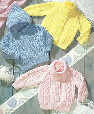 BABY CHILDREN ARAN JACKETS KNITTING PATTERN 18/24 INCH BY EMAIL (915)