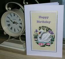 A large machine embroidered hand finished  birthday card - Swan on lake scene