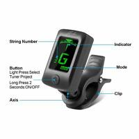 Acoustic Guitar Chromatic Tuner Clip On Bass Ukulele Violin Electric Guitars