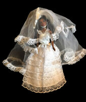 Vintage 60s Barbie Lace Satin White Wedding Dress Ball Gown Veil Handmade OOAK