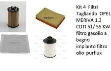 Kit 4  Filtri Tagliando  OPEL MERIVA 1.3 CDTI 51/ 55 KW  filtro gasolio a bagno.