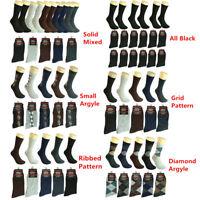 12 Pairs Men Multi Colors Patterned Cotton Casual Mid Calf Dress Socks