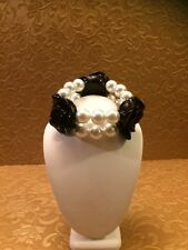 Faux Pearl Black Resin Rose Stretch Bracelet Unsigned