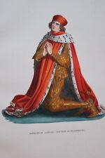 GRAVURE-ALBRECHT III ELECTEUR DE BRANDEBOURG-COSTUMES MOYEN AGE 1847- PRINT