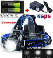 100000LM T6 LED Headlight Headlamp Head Torch 18650 Flashlight Work Light Lamp-