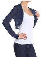 Womens Summer Sheer Mesh Long Sleeve Bolero Shrug Open Front Cardigan Coat Tops