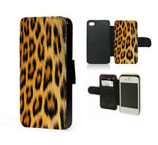 Leopard print case animal fur pattern faux leather phone case for iphone samsung