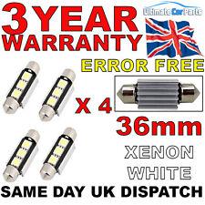 4 X 36MM 3 SMD LED 239 272 C5W CANBUS NO ERROR INTERIOR LIGHT FESTOON BULB WHITE
