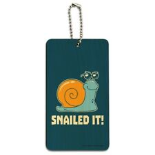 Snailed It Snail Nailed Funny Humor Wood Luggage Card Suitcase Carry-On ID Tag