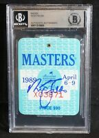 NICK FALDO Signed 1989 Augusta MASTERS PGA Golf BADGE Ticket - Beckett Authentic