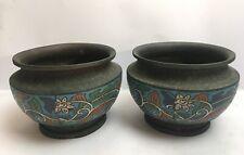 More details for antique pair of japanese champleve planters enamelled cloisonné flowers metal