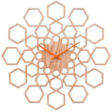 Holz Wanduhr Sunshine Hexagon natur Fünfecke Retro 50er Jahre Uhr Quarzuhr 48 Ø