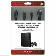 Sony HDMI Cable & USB 2.0 Cable Pack for PlayStation 3 SEALED NEW - 10FT