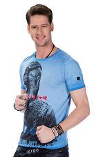 Cipo & Baxx Herren Jungen Party T-Shirt CT412 blau rundhals