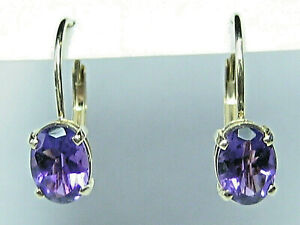 14k Yellow Gold Cantilever Drop//Dangle Amethyst Earrings (TCW 1.70)  - 1.46 gm