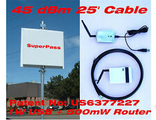 45dBm 2.4G USB Long Range WIFI Bridge Repeat Router Smart Antenna 25' cable Mile