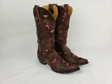 **SO-STYLISH!* OLD GRINGO EMBROIDERED FLORAL DISTRESSED LEATHER COWBOY BOOTS 9.5