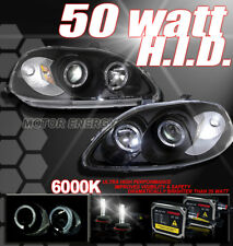 FOR 96 97 98 HONDA CIVIC DUAL HALO PROJECTOR HEADLIGHTS+HID 6000K KIT LAMP BLACK