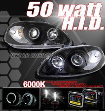 96 97 98 HONDA CIVIC DUAL HALO PROJECTOR HEADLIGHTS+HID 6000K KIT LAMP JDM BLACK