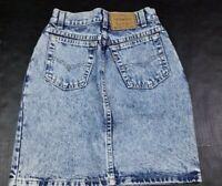 Vtg Levi's Women's High Waist Acid Wash Denim Blue Jean Mini Skirt Size 3 USA