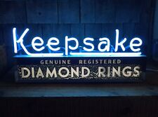 Working Original vintage Keepsake Diamond Rings Store Display Light Up Neon Sign