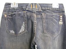 """NWT! WOMENS MISS ME KANSAS BOOT CUT DISTRESSED BLUE JEANS, SIZE 27, 34"""" INSEAM,"""