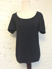 Wolford Cotton and Stretch Scoop Neck Top Short Sleeve Black size Large
