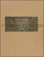 1978 Cadillac Optional Specifications Book 78 Deville Eldorado Seville Fleetwood