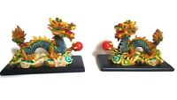 SET 2 CHINESE DRAGON FIGURINES. FENG SHUI VERY COLORFUL & SHARPLY DETAILED
