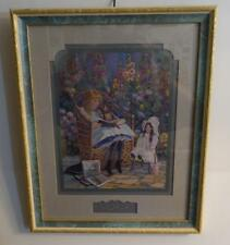 "Vtg Home Interior ""Story Time"" Picture W/ Green And Gold Wood Frame"