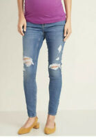 NWT Old Navy Maternity Womens Front Low Panel Distressed Skinny Jeans Blue 2