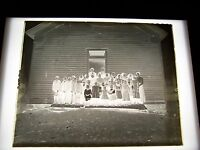 "ANTIQUE 8"" X 10"" GLASS PHOTOGRAPH NEGATIVE  SCHOOL CLASS OUTSIDE OF SCHOOLHOUSE"