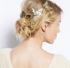 2PCS Elegant Women Gold Butterfly Hair Clip Hairpin Wedding Barrette Accessories