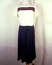 vtg 60s Mid Century Cream/Red/Blue Striped A-Line Dress Mod Scooter sz 14