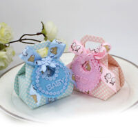 12Pcs Baby Shower Boy Girl Apron Party Favour Birthday Decor Candy Gift Box Bag