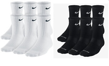 Nike Dri-Fit and Performance Cotton Crew Socks 1, 3, OR 6 PAIRS WHITE OR BLACK!