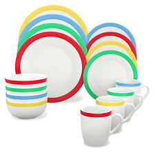 Vremi 16 Piece Multicolor Porcelain Dinnerware Set for 4 w/ Plates, Mugs & Bowls