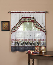 """Achim Home Furnishings Rots24Bu12 Rooster Tier and Swag Set, 57"""" x 24"""", Burgundy"""