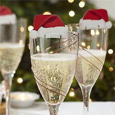 10pcs Hot Christmas Santa Hats Cute Champagne Glass Xmas Party Table Decoration-