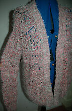 NEW Sz 12 Falmer Pink & Silver Ribbon Fluffy Knitted Cardigan Jacket gift