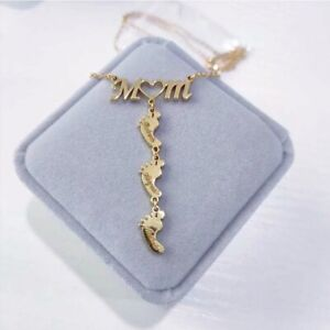 Dorexmart MOM Heart Necklaces Customized Nameplate Mother Birthday Jewelry Gifts