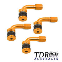GOLD 4pcs Car 4WD Truck Motorcycle Tyre Tire Valve Extension Adaptor 90 Degree